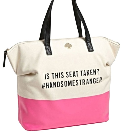 Kate Spade Rare New Satchel Handbag Purse Quote Call To Action Terry Is This Seat Taken Tote in pink Image 0