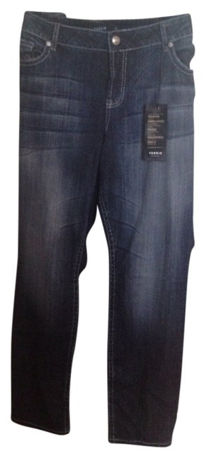 Item - Blue Dark Rinse Premium Wash with Faux Leather Skinny Jeans Size 22 (Plus 2x)