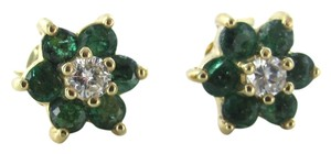 14KT KARAT SOLID YELLOW GOLD EARRINGS EMERALD 2 DIAMOND FLOWER STUDS 1.7 GRAMS