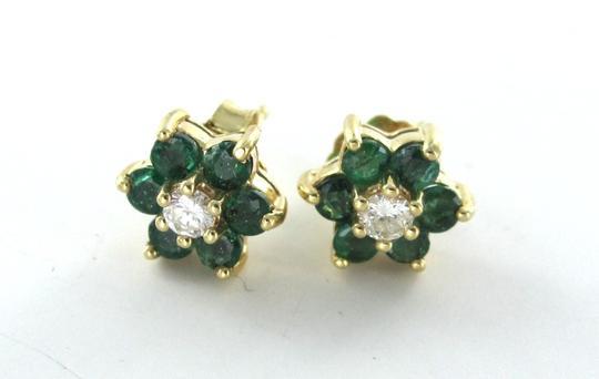 Other 14KT YELLOW GOLD EARRINGS EMERALD 2 DIAMOND FLOWER STUDS 1.7 GRAMS