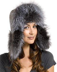 Other Women's silver fox fur and leather trapper hat