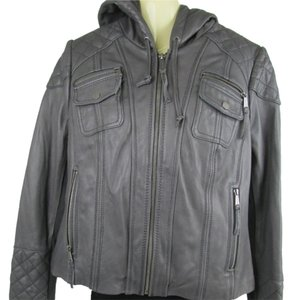 Michael Kors Leather Grey Leather Jacket