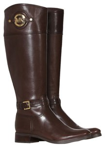 Michael Kors Brown Mk Michael Stockard Mk Logo Leather Tall Fall 40f3admb5l Cofee Brown Boots