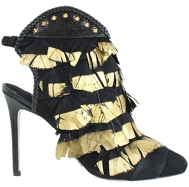 Item - Black Gold 100mm Leather Feathers Open Boots/Booties Size US 10 Regular (M, B)