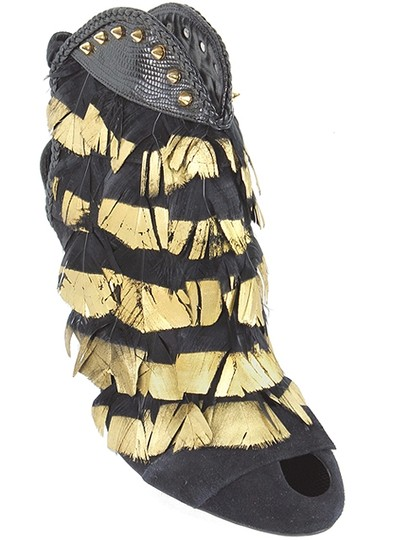 Daniele Michetti Feathers Peep Toe Black, Gold Boots