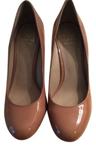 Saks Fifth Avenue Heels Patent Leather Leather Nude Wedges