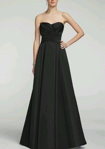 David's Bridal Black Strapless Satin Pleated Bodice Gown F15554 Dress