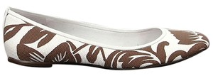 Delman Canvas Floral Flat Ballerina White, Brown Flats