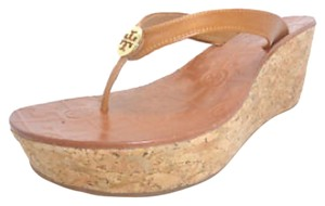 Tory Burch Thora Tan Pebbled Leather Cork New Royal Tan Wedges