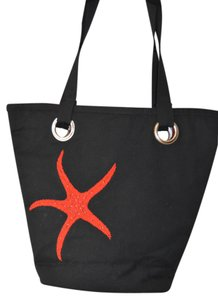 Carlisle Beach Tote in Black Canvas with Red Beading