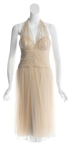 Badgley Mischka Bridesmaid Wedding Gown Prom Graduation Elegant Classic Beaded Tea Length Dress