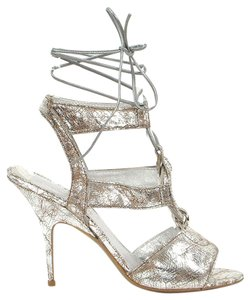 Donna Karan Metallic Strappy Silver Sandals