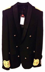 Balmain x H&M Shawl Collar Wool Metal Embroidery Jacket 34r 44eu Xs Militar Black, Gold Blazer