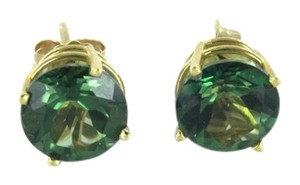 Other 14KT KARAT SOLID YELLOW GOLD EARRINGS GREEN STONE FINE JEWELRY 1.8 GRAMS STUDS