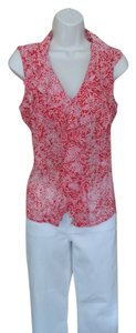 Jones New York Ruffle Top Cardinal Red Polka Dot