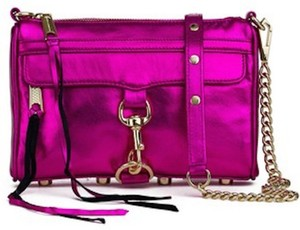 Rebecca Minkoff M.a.b Metallic M.a.b Mini Chain Cross Body Bag. Pink Clutch