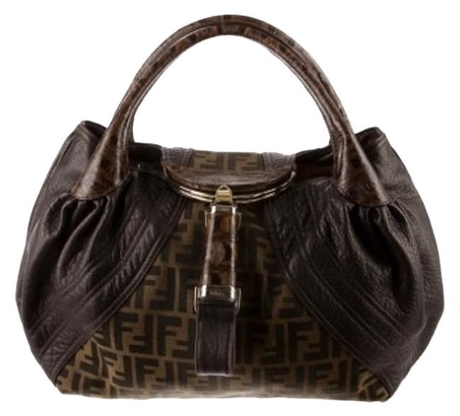 Item - Spy Brown and Zucca Print Leather Canvas Shoulder Bag
