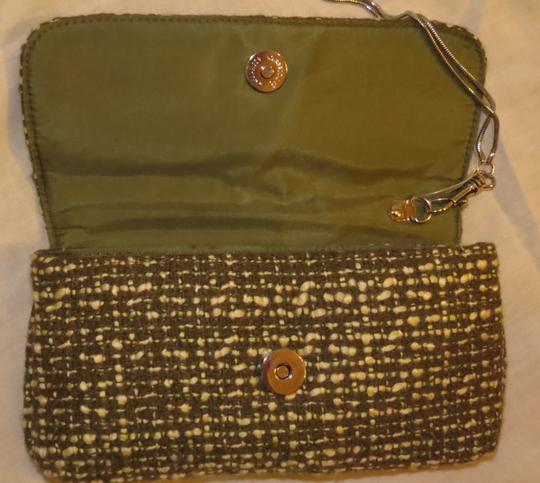 Christian Livingston Collection Wrist-let Silver Green & White Weave Clutch