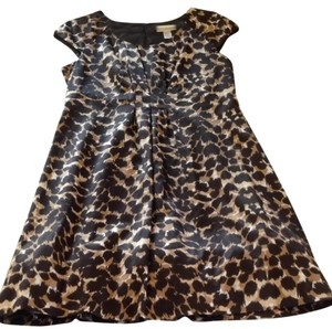 Kenar Animal Print Brown Cap Sleeves Rim Of Toile Dress
