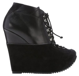 Saint Laurent Leather Suede Lace Up Ysl Yves Black Boots