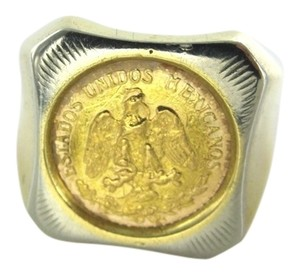 18KT YELLOW SOLID GOLD COIN RING SZ7.5 DOS PESOS ESTADOS UNIDOS MEXICANOS 22KT