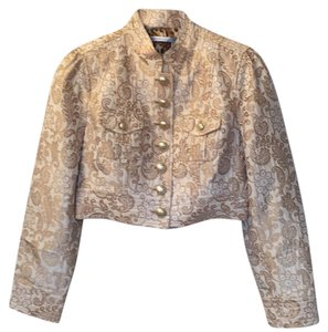 Classiques Entier Motorcycle Jacket Metallic Top Cream and Gold