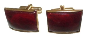 Other VINTAGE GOLD TONE Cuff Links RED STONE