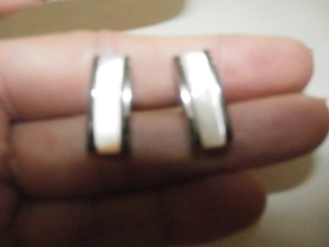 Perry Ellis VINTAGE PERRY ELLIS SILVER TONE Cuff Links MOTHER OF PEARL