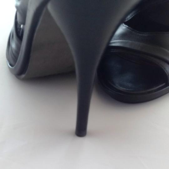 Miss Sixty Peep Peep Toe Leather Heels Black Pumps
