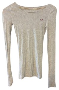 Hollister Stretch Long Sleeve Cotton T Shirt Light grey