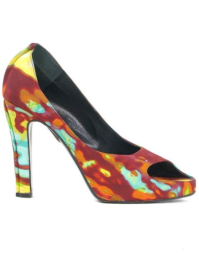 Jean-Paul Gaultier Peep Toe Print Multi Color Pumps
