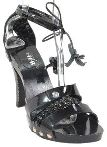 Jean-Paul Gaultier Studded Patent Leather Rocker Wood Black Sandals