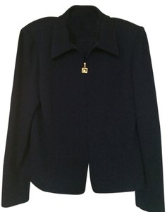 St. John Zipper Front Closure Gold Zipper Pull Cardigan