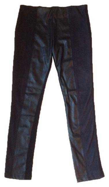 Item - Black and Navy Collection Mixed Media Leggings Size 12 (L, 32, 33)