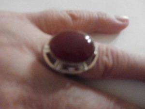 PRE-OWNED STERLING SILVER CARNELIAN RING SIZE 6
