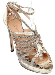 Jean-Paul Gaultier Python Snakeskin Strappy Cream, Brown, Gray Sandals
