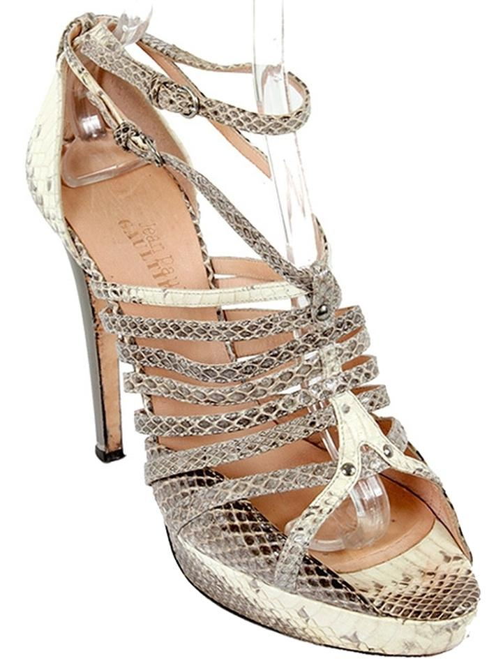 10f2ce1e858d Jean-Paul Gaultier Cream Brown Gray - Snakeskin Strappy Sandals Size ...