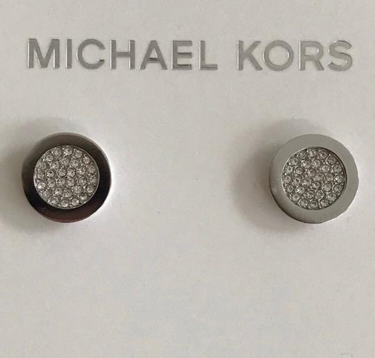 Michael Kors Nwt Michael Kors Silver Tone Brilliance Pave Stud Pierced Earrings Image 2