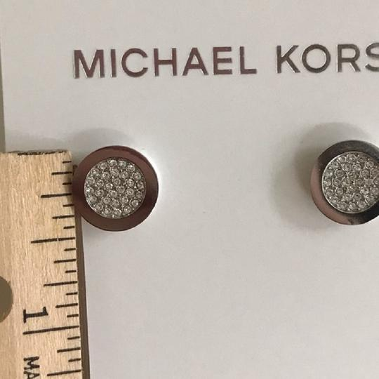 Michael Kors Nwt Michael Kors Silver Tone Brilliance Pave Stud Pierced Earrings Image 4