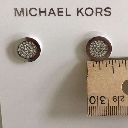 Michael Kors Nwt Michael Kors Silver Tone Brilliance Pave Stud Pierced Earrings Image 5