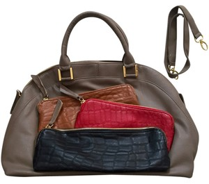 Martello Michael Kors Coach Pockets With Pockets Satchel in grey and red