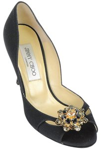 Jimmy Choo Jewel Peep Toe Satin Black Pumps