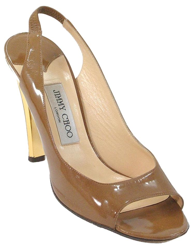 Jimmy Choo Toffee Brown Caramel Sandals Patent Open Toe Slingback Sandals Caramel 3ee5c2
