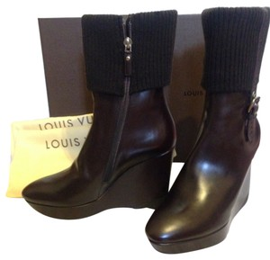 Louis Vuitton Midcalf Wedge Sweater Knit Cuffed Brown Boots