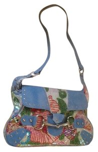 Christiana Lapetina Denim Leather Summer Multi-colored beaded sequined Messenger Bag