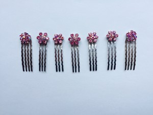 Set of 7 Pink Multi-stone Hair Pins