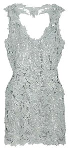 M & Guia Lace Open Back Metallic Lace Dress