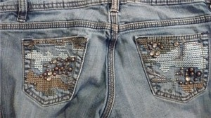 Embroidered Studded Skinny Jeans-Medium Wash
