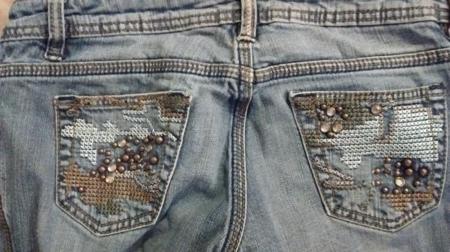 Other Embroidered Studded Skinny Jeans-Medium Wash Image 1