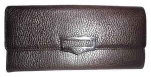 Tod's TODS DK BROWN PEBBLED LEATHER LARGE Card/ Coin Holder WALLET
